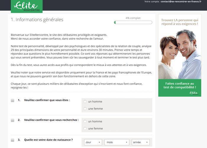 Première étape de l'inscription : validation du profil.
