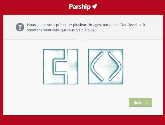 Exemple de question mettant en scène deux symboles à choix.