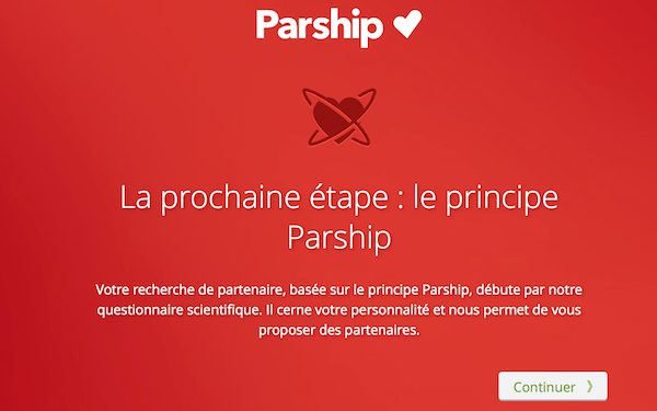 Explication donnée par Parship sur son questionnaire de matchmaking.