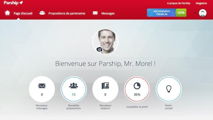 Ecran d'accueil utilisateur du site Parship.