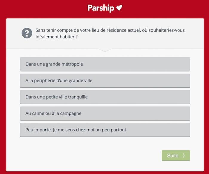 Page de questions proposées par Parship