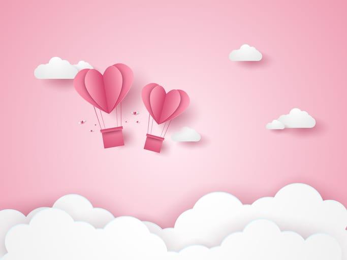 Montgolfière coeur représentant l'amour